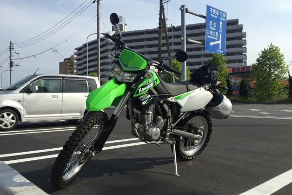 KLX250-ツーリングコンビニ駐車場