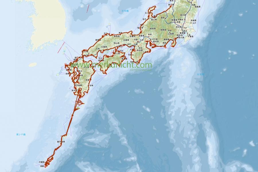 日本一周-前半まとめ-GPSログ